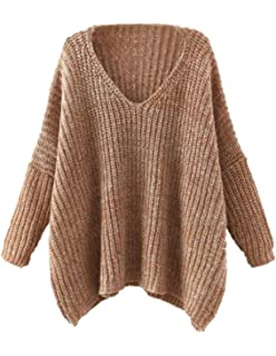 3346a7fe48 Milumia Dropped Long Sleeves Batwing Cable Knit Winter V Neck Loose Fit  Sweaters