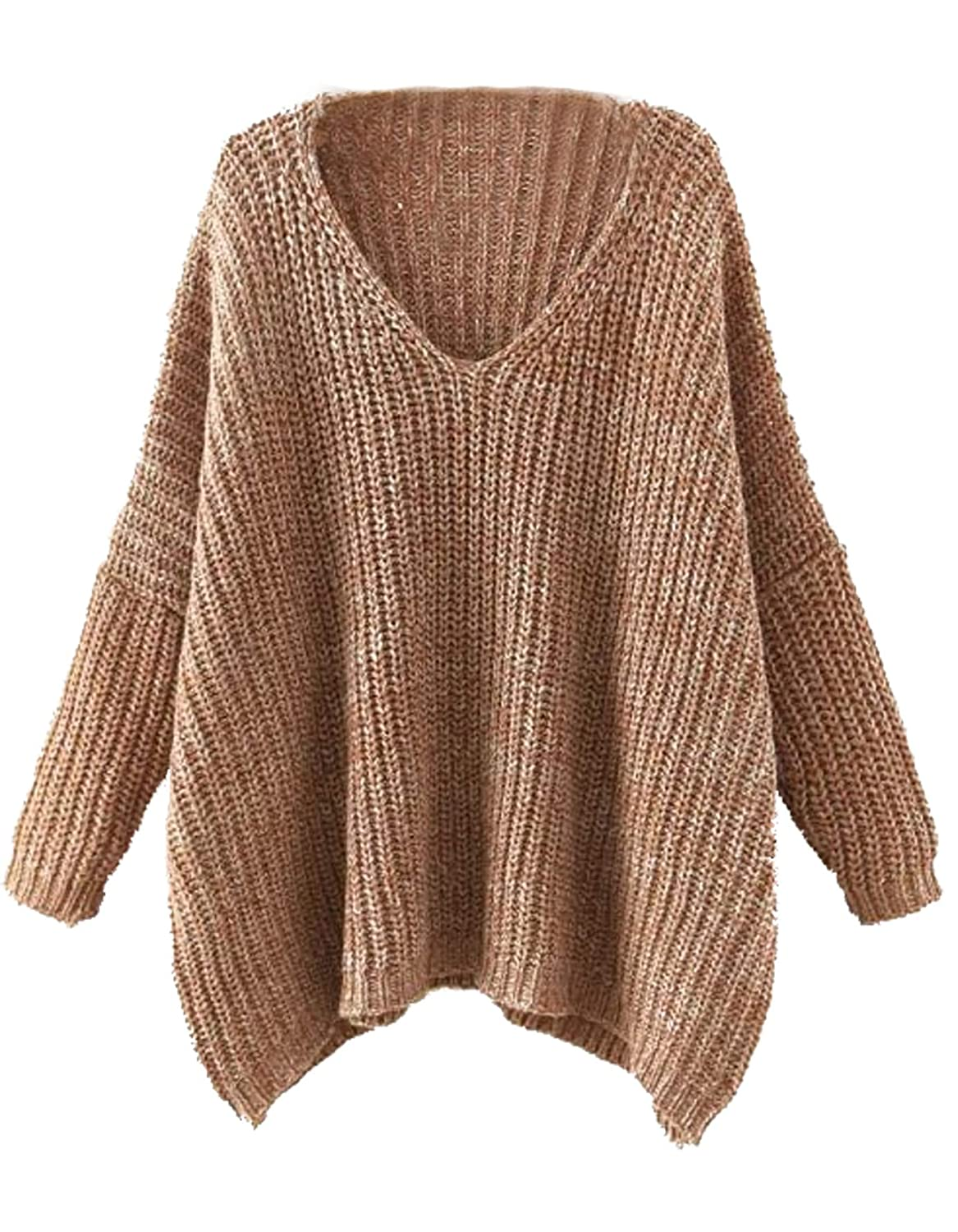 207affb175 Milumia Women Loose Wide Sweaters Batwing V Neck Dressy Long Sleeves Fall  Winter Brown at Amazon Women s Clothing store