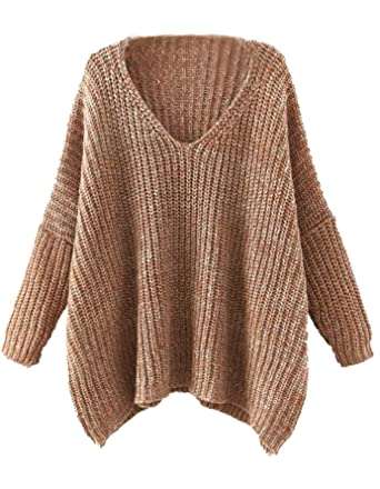 54885eafee Milumia Women Loose Wide Sweaters Batwing V Neck Dressy Long Sleeves Fall  Winter Brown at Amazon Women s Clothing store