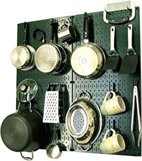 product image for Wall Control Kitchen Pegboard Organizer Pots and Pans Pegboard Pack Storage and Organization Kit with Green Pegboard and Black Accessories