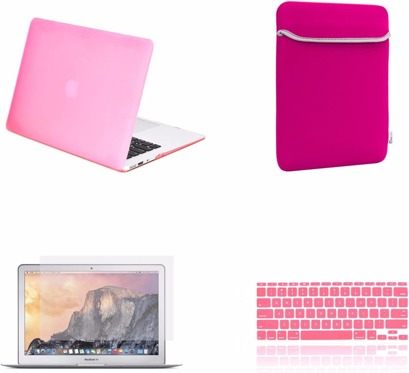 TOP CASE - 4 in 1 Essential Bundle Rubberized Hard Case, Keyboard Cover, Screen Protector and Sleeve Bag Compatible MacBook Air 11