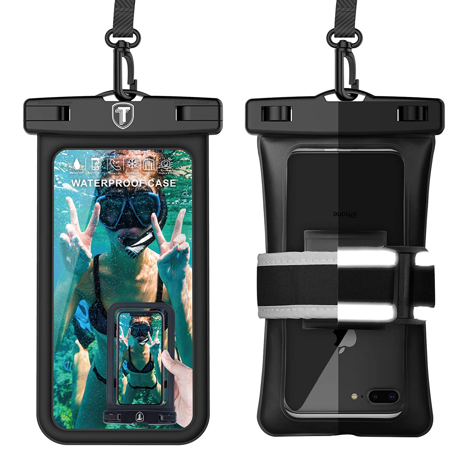 Tekcoo Universal Waterproof Case, [Floating] IPX8 Waterproof Phone Pouch Dry Bag for iPhone 11 Pro/Xs Max/Xs/XR/X, Galaxy S10/S10+/S10e/S9/Note 9/Note10, LG G8, Moto G7,Pixel 3A & Reflective Armband