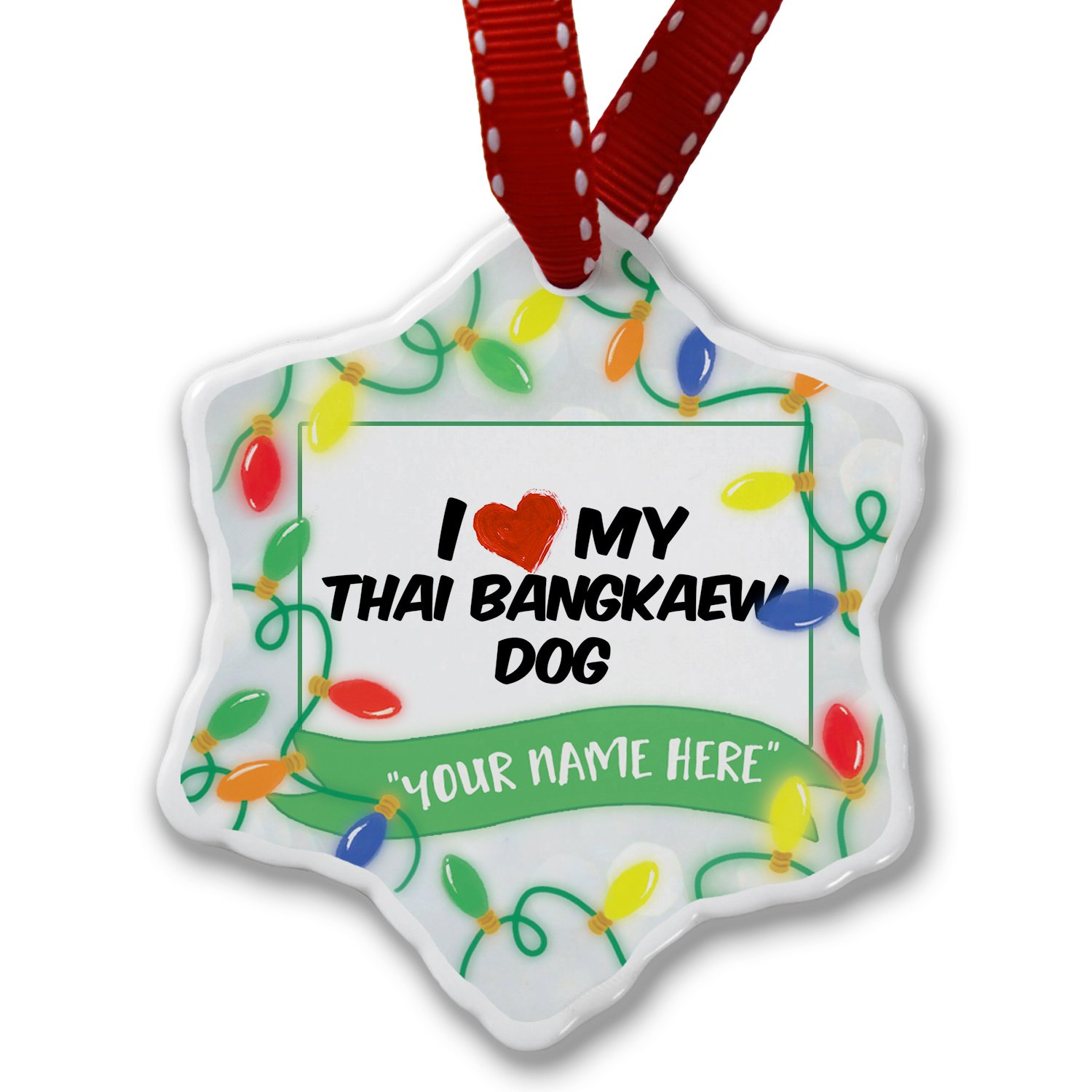 Personalized Name Christmas Ornament, I Love my Thai Bangkaew Dog from Thailand NEONBLOND
