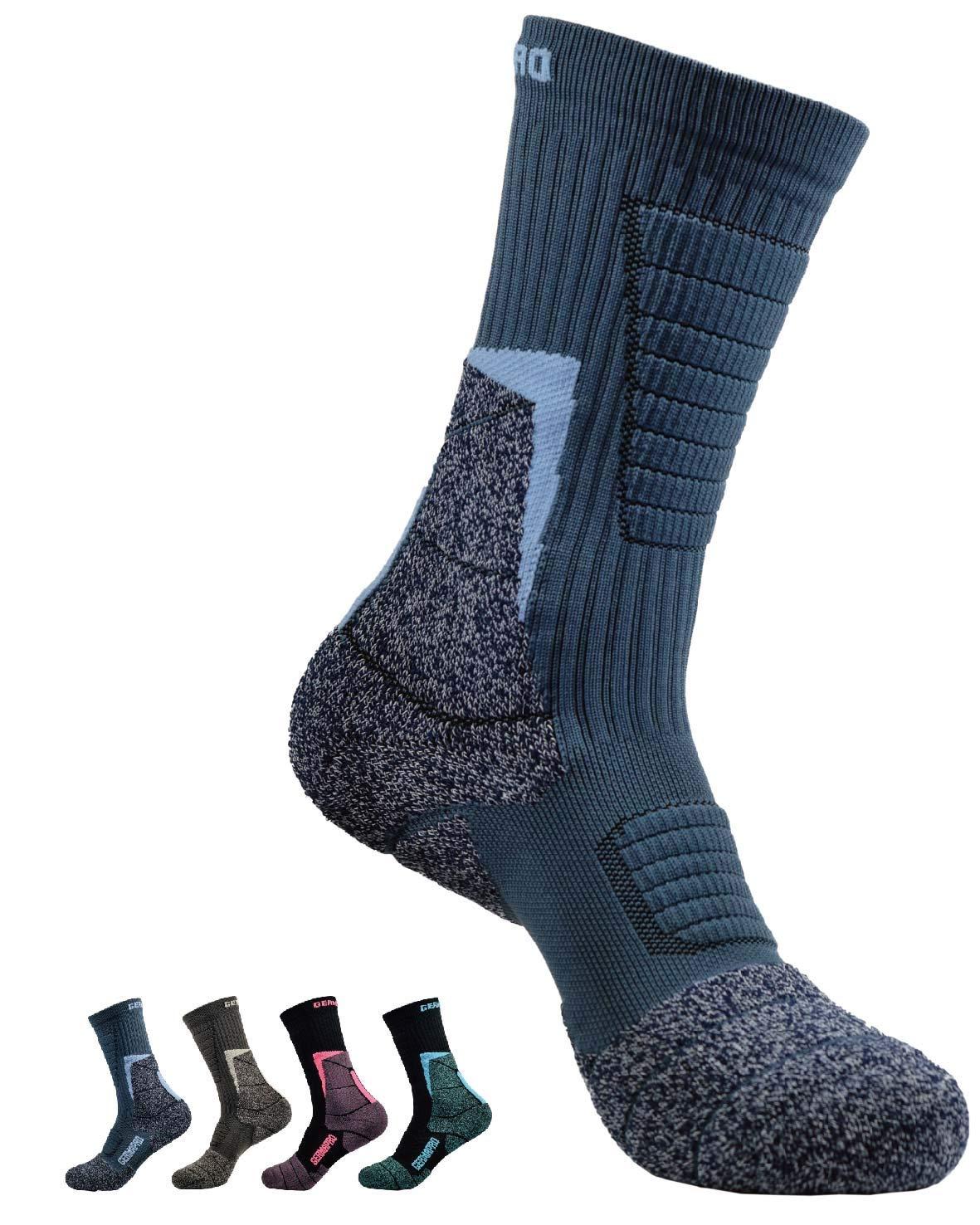 Mens Antibacterial Odor Moisture Wicking Outdoor Hiking Socks w/Thermal Regulating Germanium & Coolmax All Season 1 pair by GermaPro