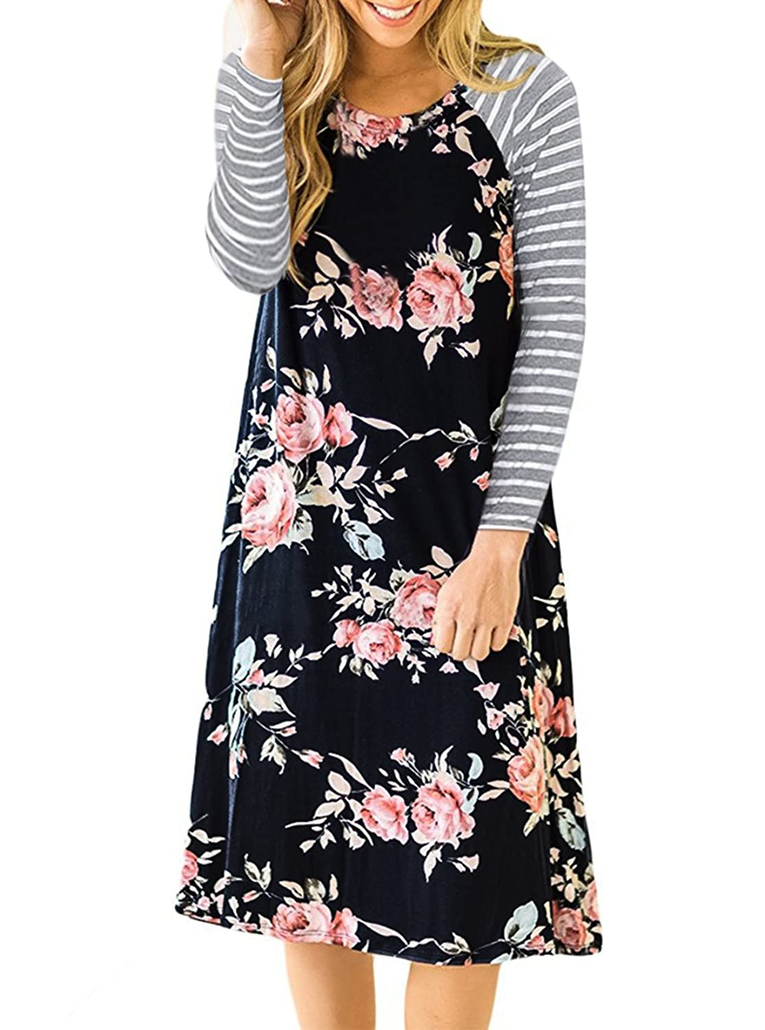 01875dc94c6 Swing dress,Flowy dresses/Occasion:Casual,Vacation,Party. Feature: Floral  Print with Striped Sleeves, Round Neck,A-line Style, Long Sleeves, ...
