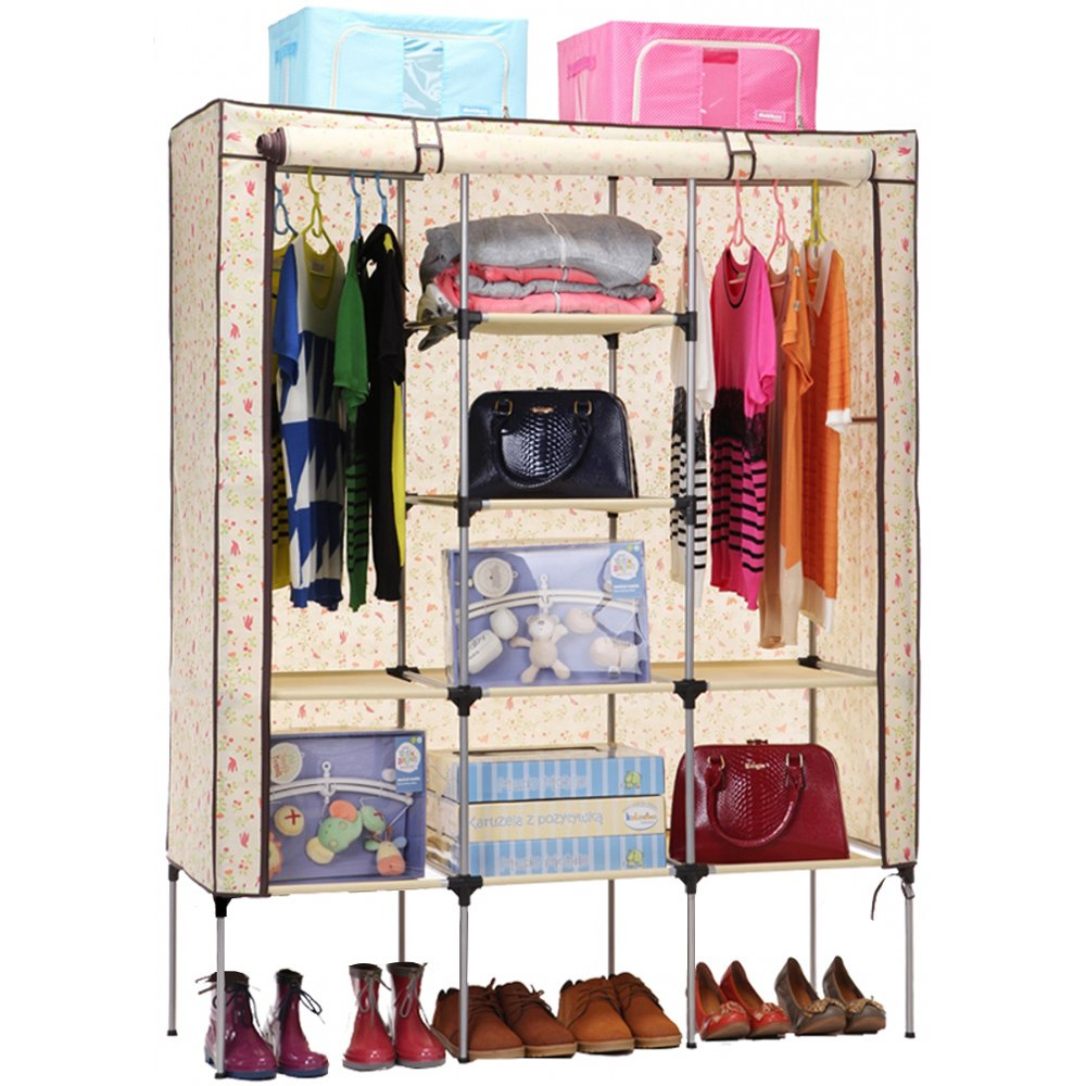 wardrobe cabinet armoire clothes closet storage shoe rack shelve large canvas ebay. Black Bedroom Furniture Sets. Home Design Ideas