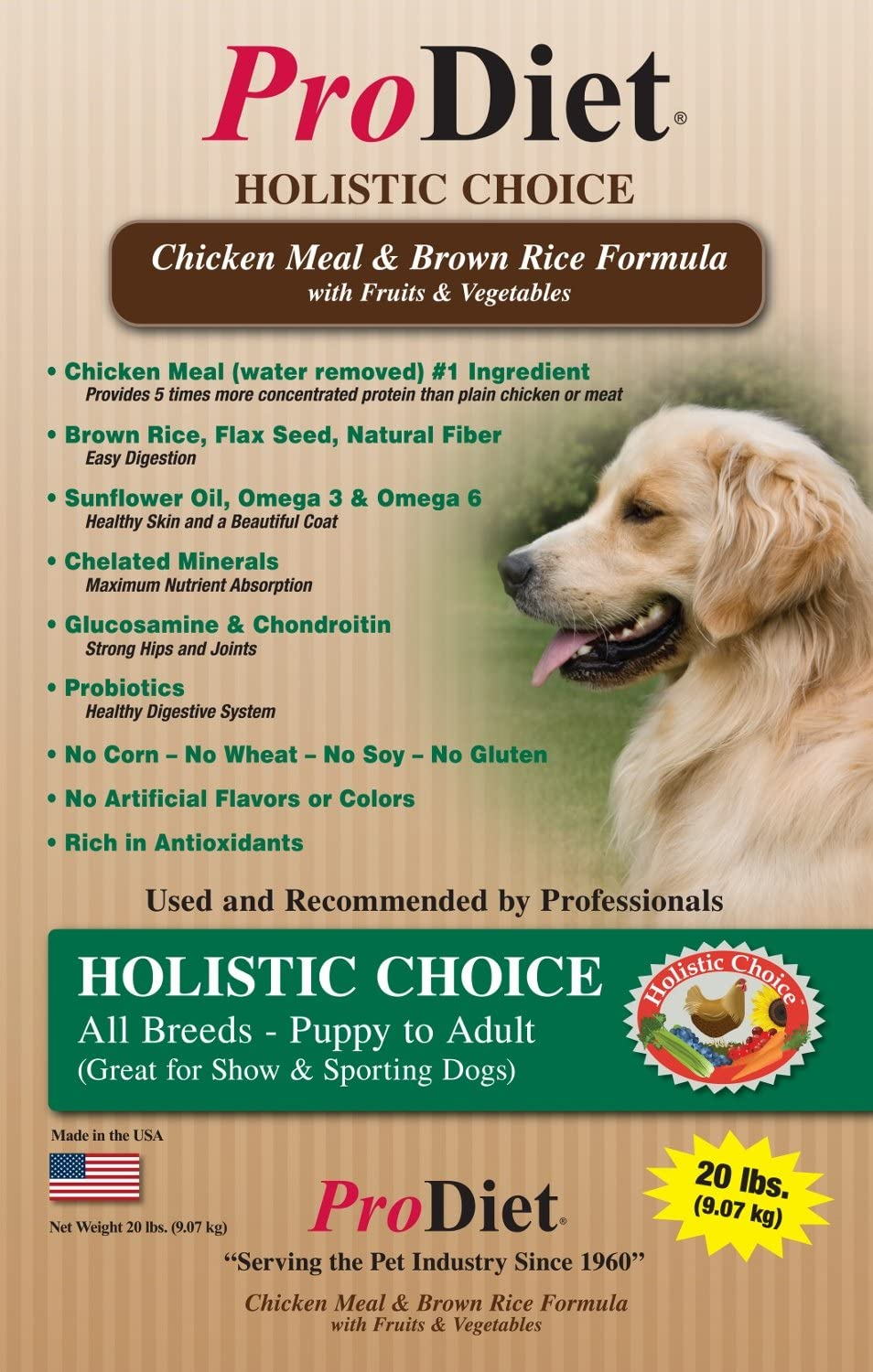 ProDiet Holistic Choice Dog Food Health Care Recipe - Your Alternative to Medication and Veterinary Bills, for All Breeds, Puppy to Adult