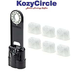 6 Charcoal Water Filters and Water Filter Holder Starter Kit Combo for Keurig 1.0 Coffee Machines by KozyCircle