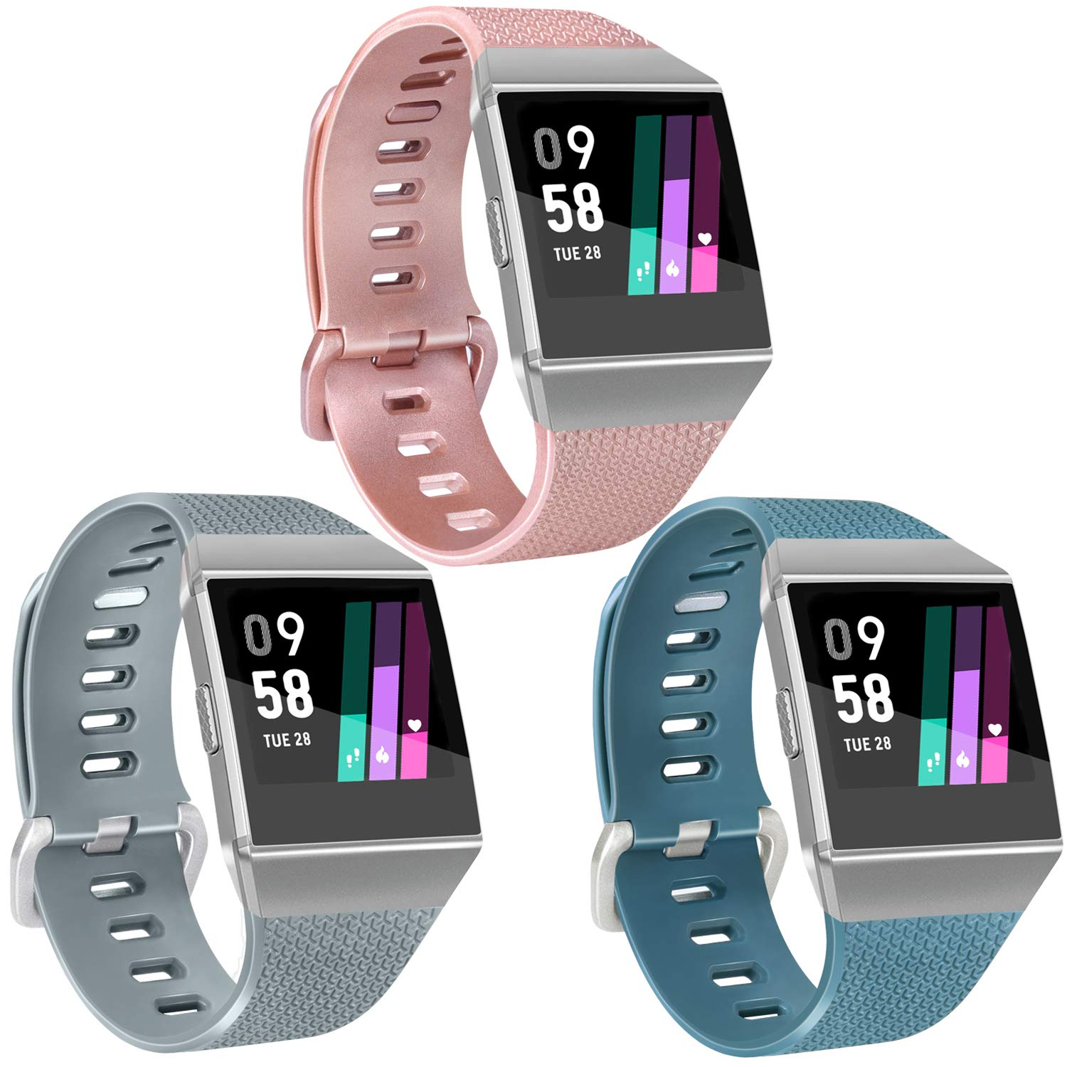 Vancle Sport Bands Compatible with Fitbit Ionic Smartwatch 3 Pack