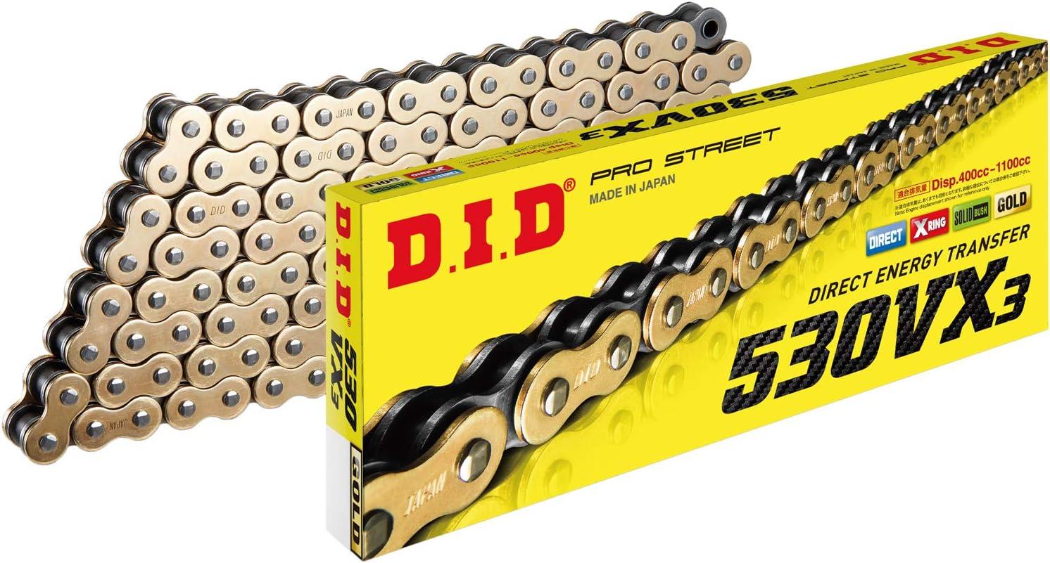 D.I.D 530VX3G120ZB Gold//Black 525VX3 X-Ring Chain 120 Links
