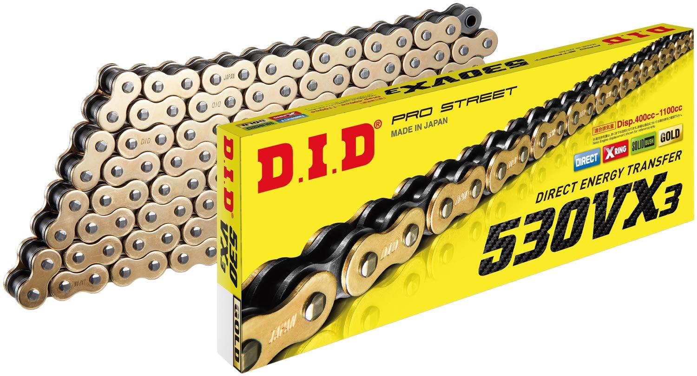 D.I.D 530VX3G118ZB Gold//Black 525VX3 X-Ring Chain 118 Links