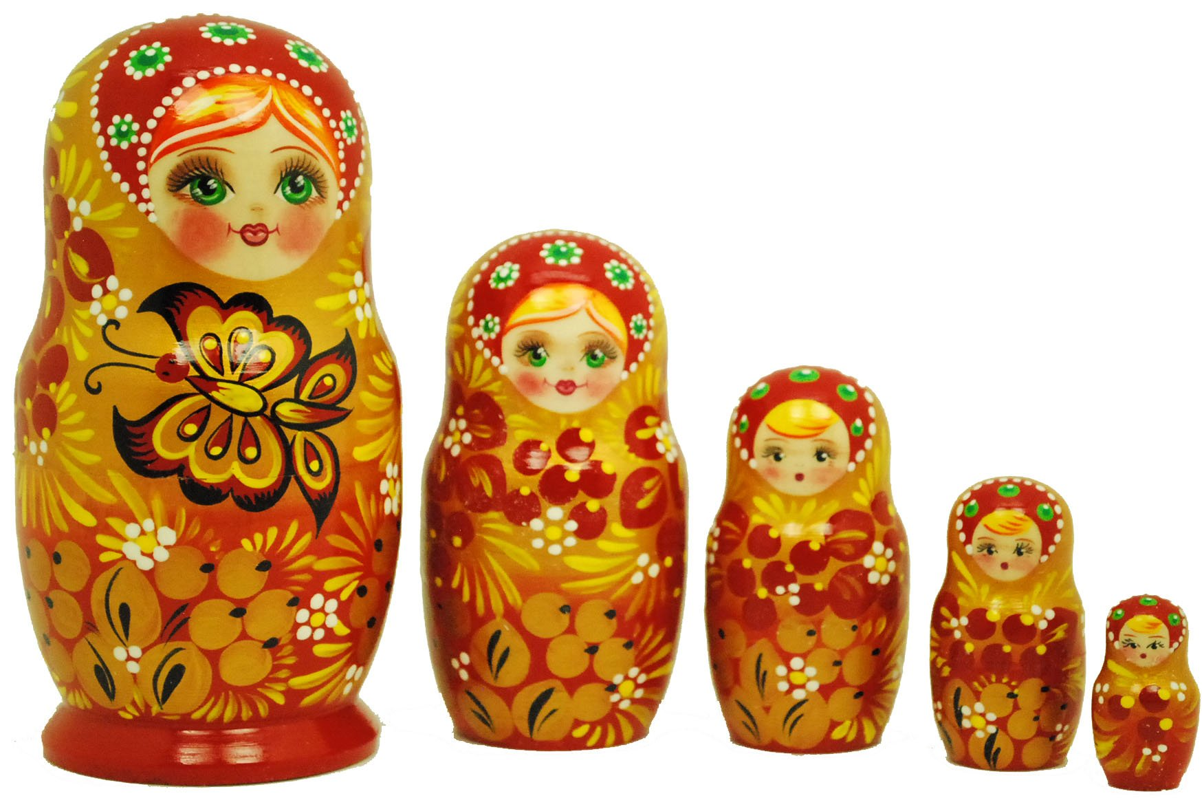 Beautiful Authentic Russian Hand-Painted Red & Gold Butterfly Nesting Dolls 5 pc set