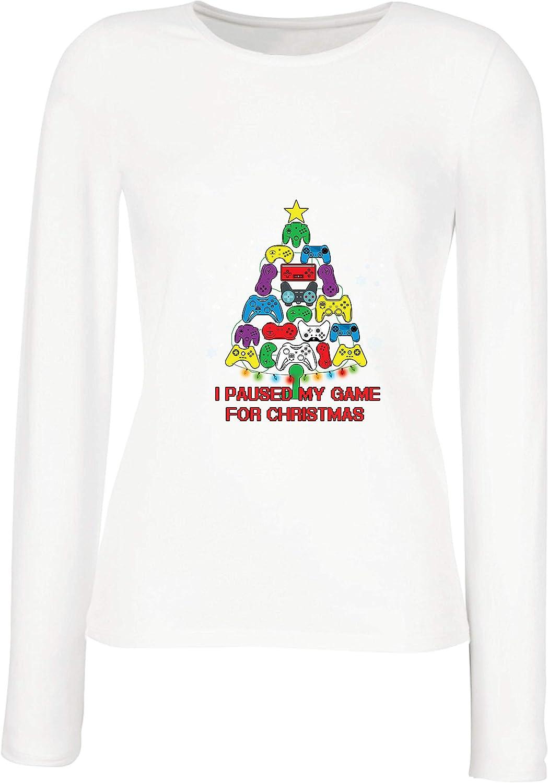 lepni.me Camisetas de Manga Larga para Mujer Pausé mi Juego para Navidad Equipo de Juego Divertido: Amazon.es: Ropa y accesorios