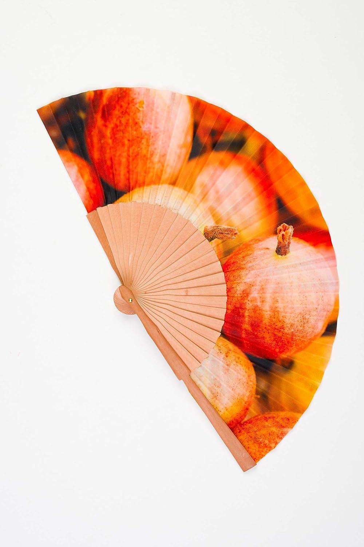 Abanico de madera y tela tacto seda de color naranja artesano handmade en España CMenendez: Amazon.es: Handmade