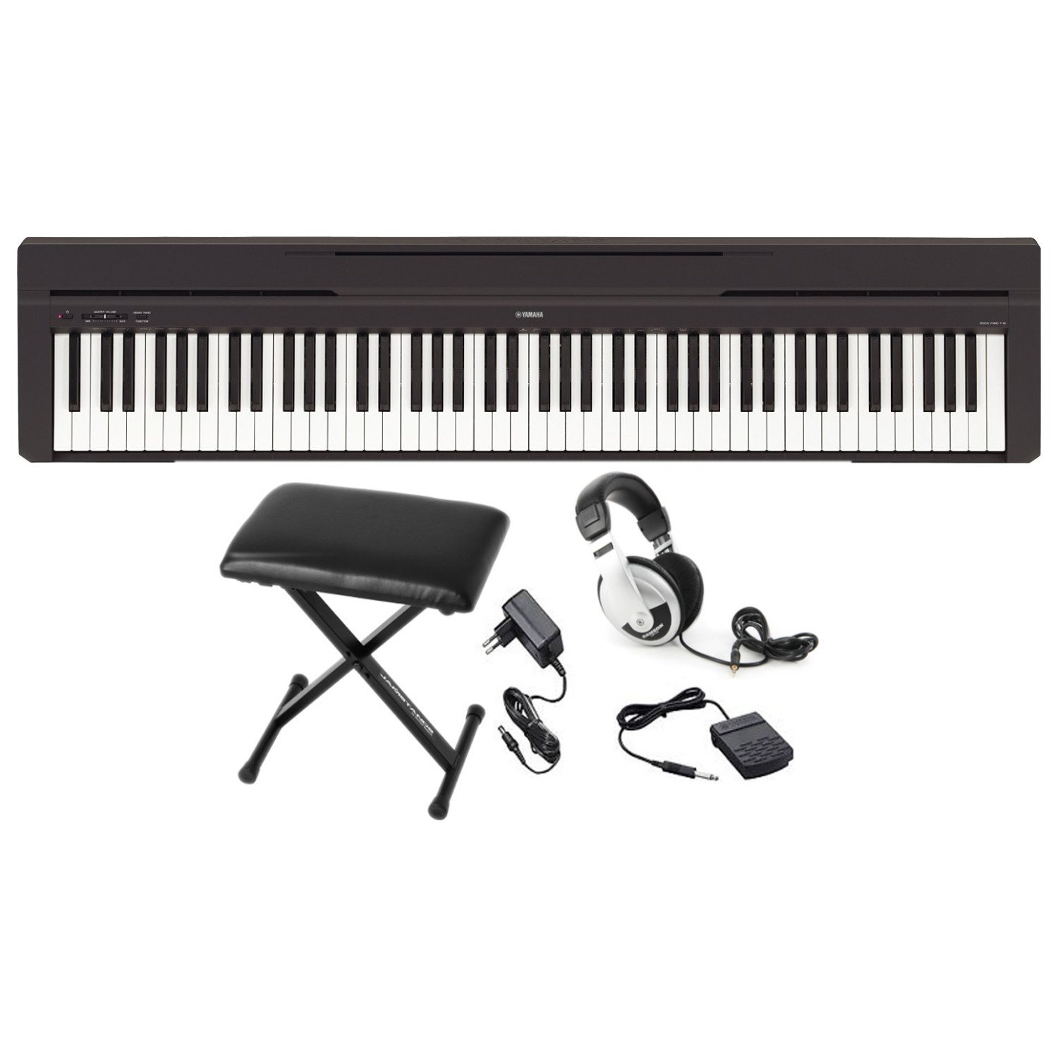 Yamaha P45B 88 Weighted Keys Graded Hammer Standard Contemporary Digital Piano Keyboard in Black with AMW Stereo Sampling Sound withYamaha PKBB1 Keyboard Bench And Samson Open-Ear Headphone by Yamahama (Image #1)