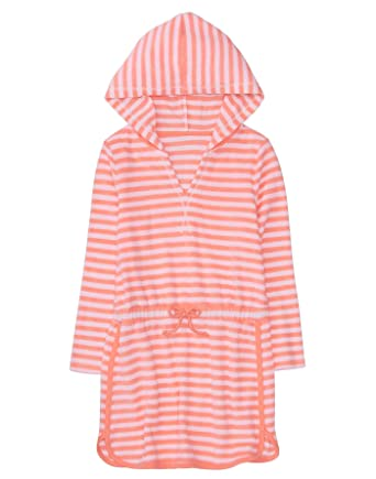 a85dd6468a Amazon.com: Gymboree Girls' Little Hooded Striped Cover-Up, Bright Coral, XS:  Clothing