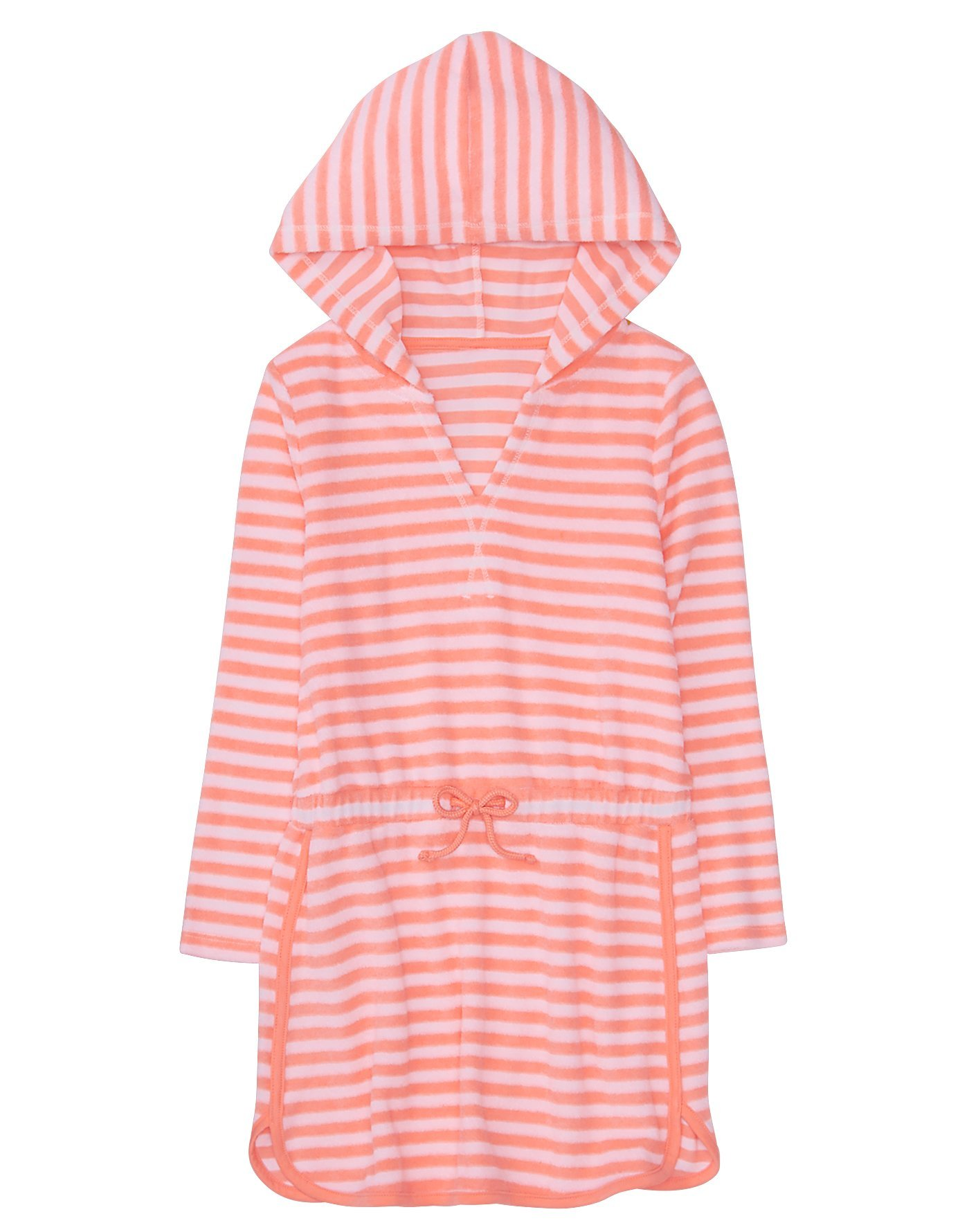 Gymboree Little Girls' Hooded Striped Cover-up, Bright Coral Stripe, S