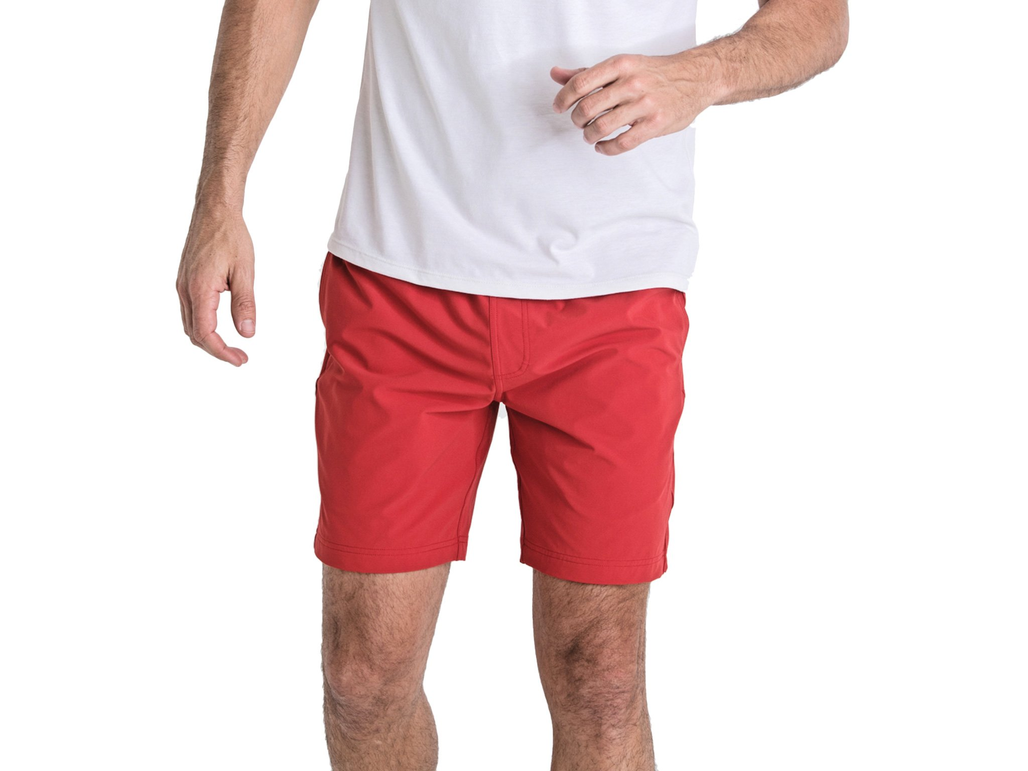 OLIVERS Apparel, Mens Water Repellent, 4-Way Stretch, All Over Short. Perfect for Running, Yoga, and Weightlifting - (Red, Small)