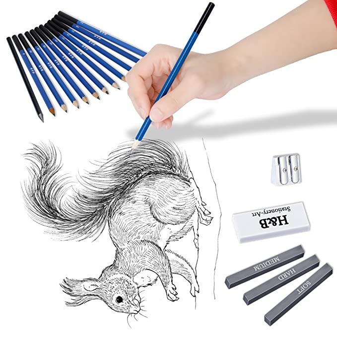 Amazon com 33 pcs set drawing and sketch kit sketching set graphite charcoal pencils sketchbook art drawing supplies set with kit bag for artists