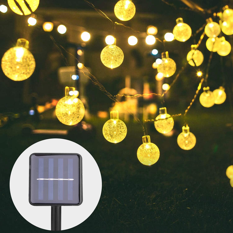 8 Modi IP65 Wasserdicht mit Lichtsensor Beleuchtung f/ür Garten Energieklasse A+++ Party Deko B/äume Herefun Solar Lichterkette Aussen 30 LED Kugeln Lichterkette 6.5M Kristall Warmwei/ß Terrasse