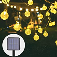 Herefun Guirnalda de Luces Solares, 6.5M 30LED Cadena de Bola Cristal Luz IP65 Impermeable 8 Modos de Iluminación para Jardín, Dormitorio, Fiestas, Bodas, Patio, Boda (Blanco Cálido)