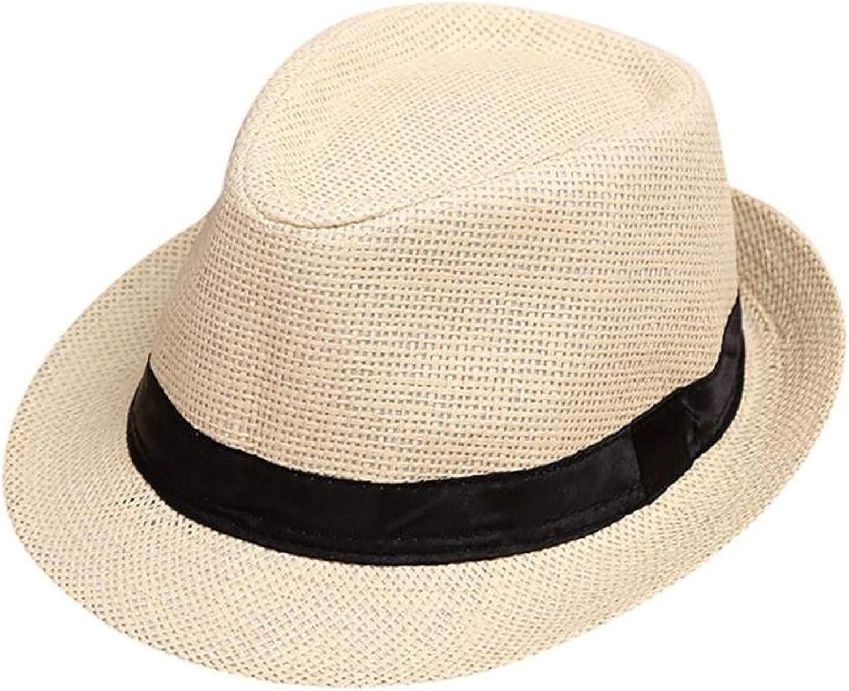Elibone Children Kids Summer Beach Straw Hat Jazz Trilby Fedora Hat Cap Outdoor Girls Boys Sunhat