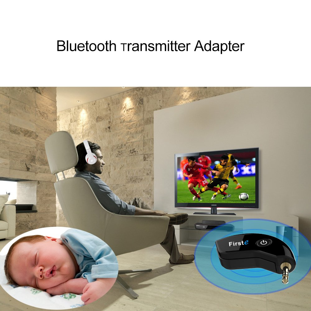 FirstE Bluetooth 4.2 Transmitter Receiver,aptX Low Latency Wireless 3.5mm Bluetooth Audio Adapter for TV PC Home Car Stereo System MP3 Player Pairing 2 Bluetooth Headphones//Speakers Simultaneously