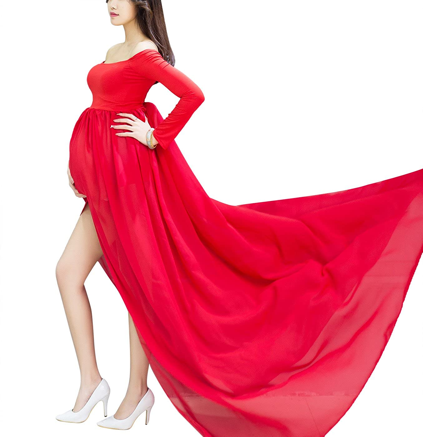 Maternity Sleeved Photography Dress Split Front Off shoulder Gowns with Underwear Aivtalk