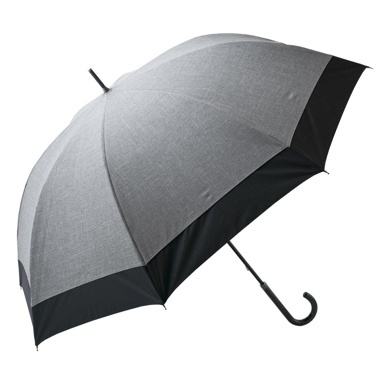 【Rose Blanc】100%完全遮光 日傘 コンビ 男女兼用 メンズサイズ ダンガリー 65cm (ダンガリーグレー×ブラック) B01F1SKKZKダンガリーグレー×ブラック
