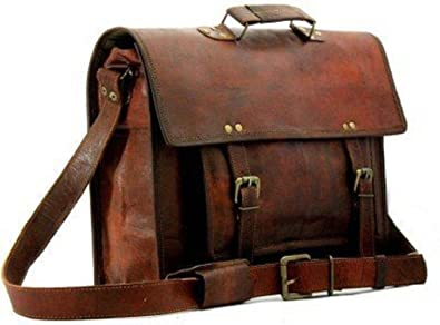 "db0e433cb6f0 Amazon.com  Prastara 15""Big Pocket Genuine Leather Laptop Bag ..."