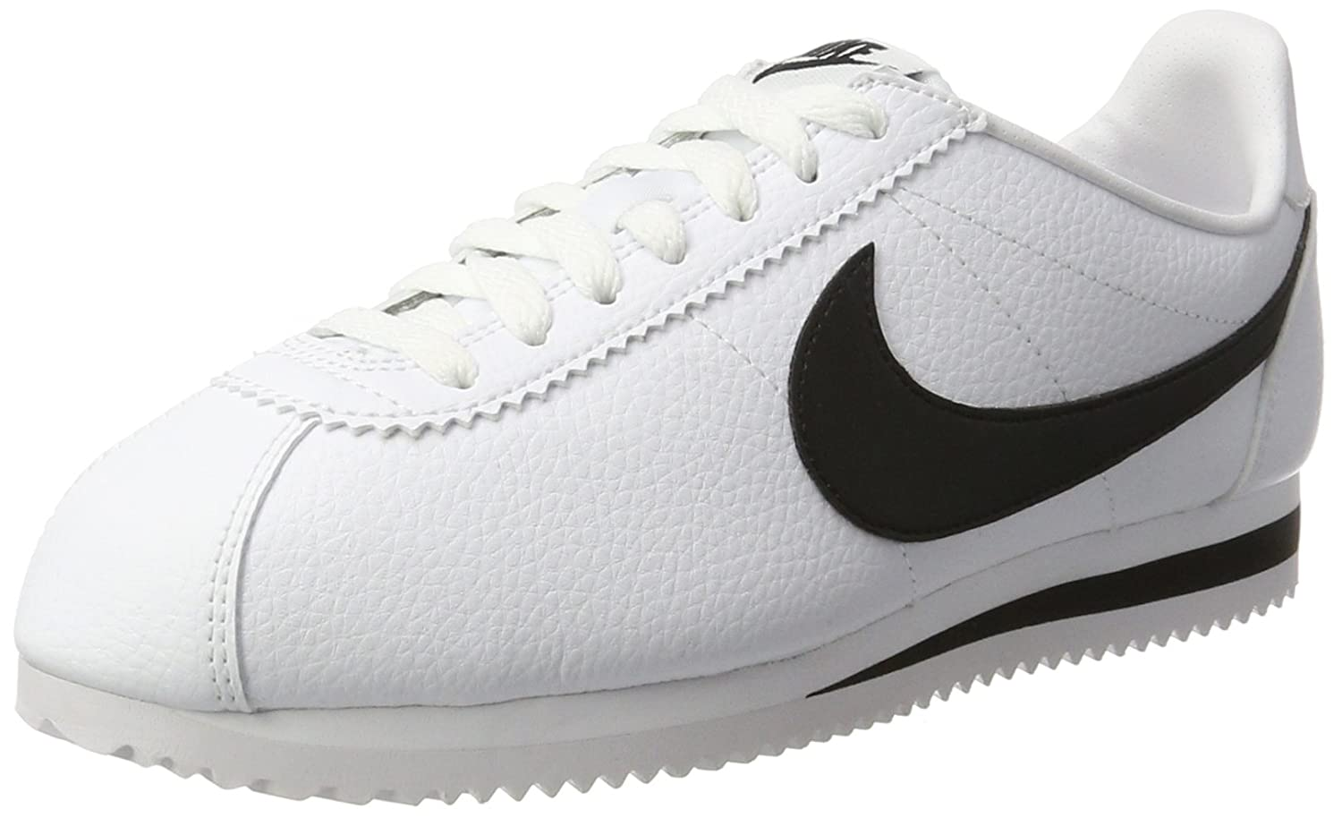 Nike Men's's Zapatillas Classic Cortez Leather WhiteBlack Running Shoes