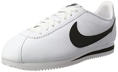 NIKE Men's Classic Cortez Leather, White/Black, ...