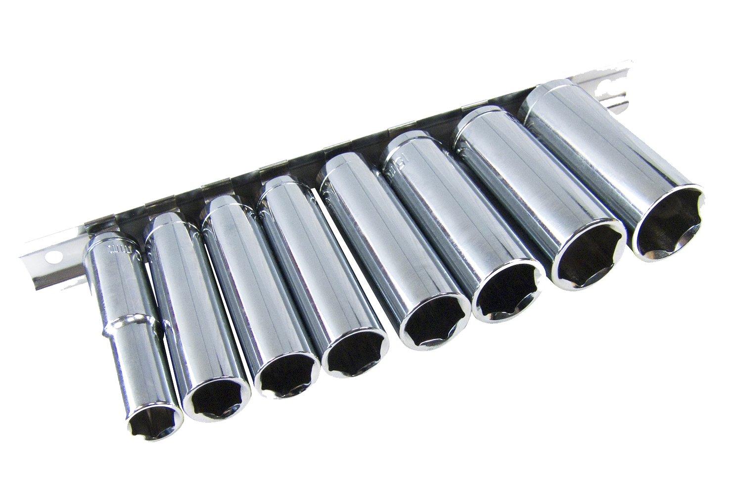"""Deep Socket Set// Long Reach Sockets On Rail 3//8/"""" Drive Heavy Duty Sockets 8-19mm"""