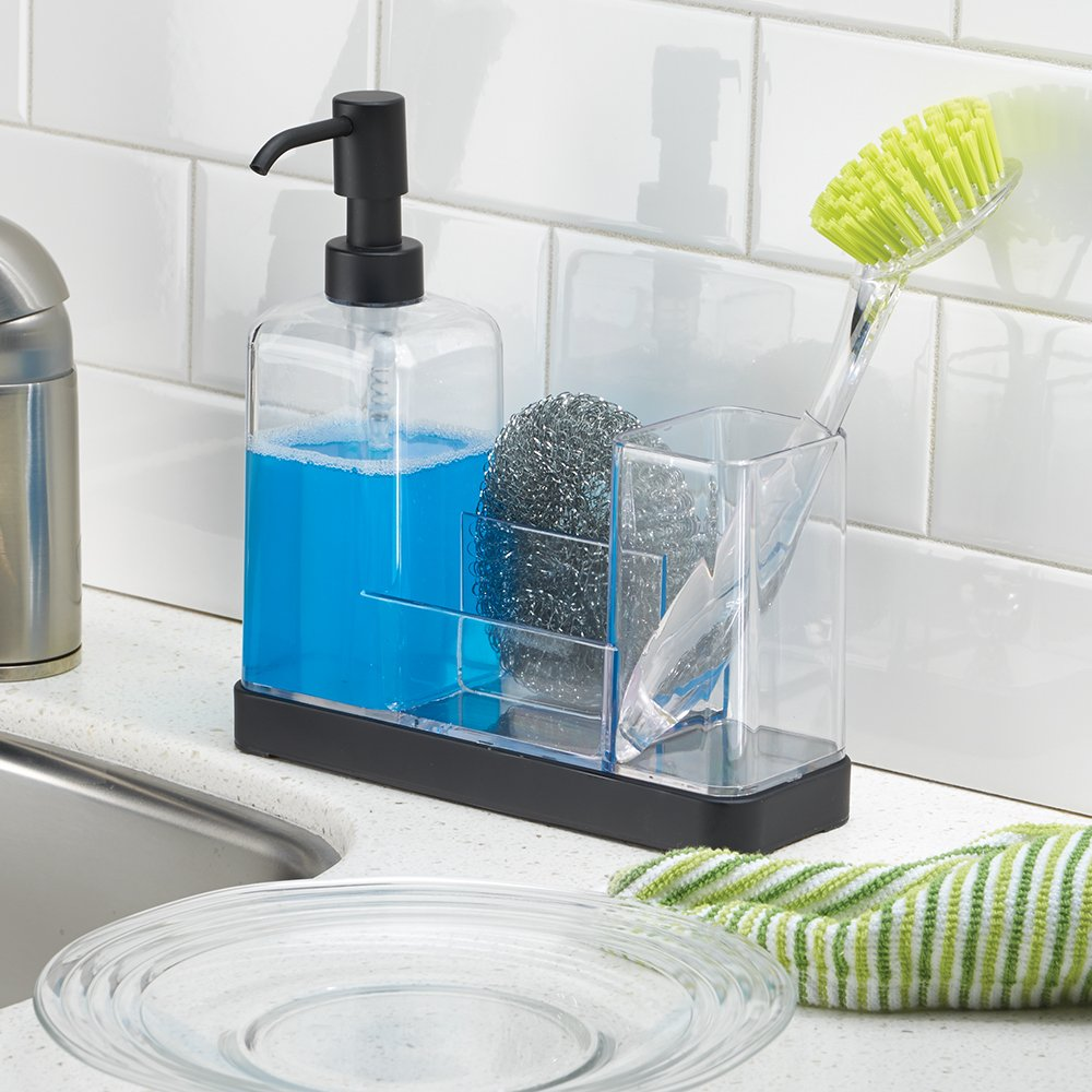 InterDesign Forma Kitchen Soap Dispenser Pump, Sponge, Scrubby and ...