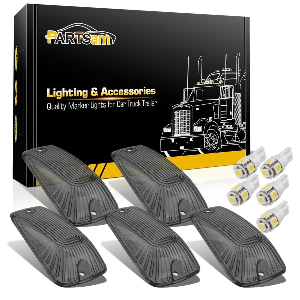 Partsam 5x Roof Running Light Cab Marker Smoke Cover +White LED Bulb for 1988-2002 Chevy C1500 C2500 C3500 K1500 K2500 K3500, 1988-2002 GMC C1500 C2500 C3500 K1500 K2500 K3500