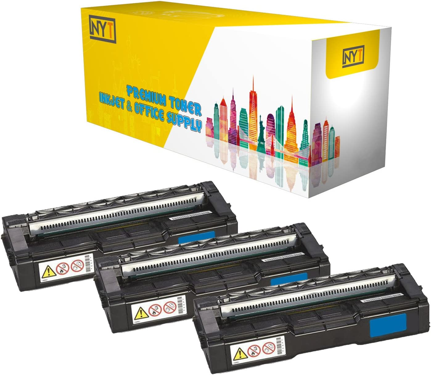 NYT Compatible High Yield Toner Cartridge Replacement for 407540 for Ricoh SP C250DN,SP C250SF,SP C250DN,SP C250SF Cyan,3-Pack