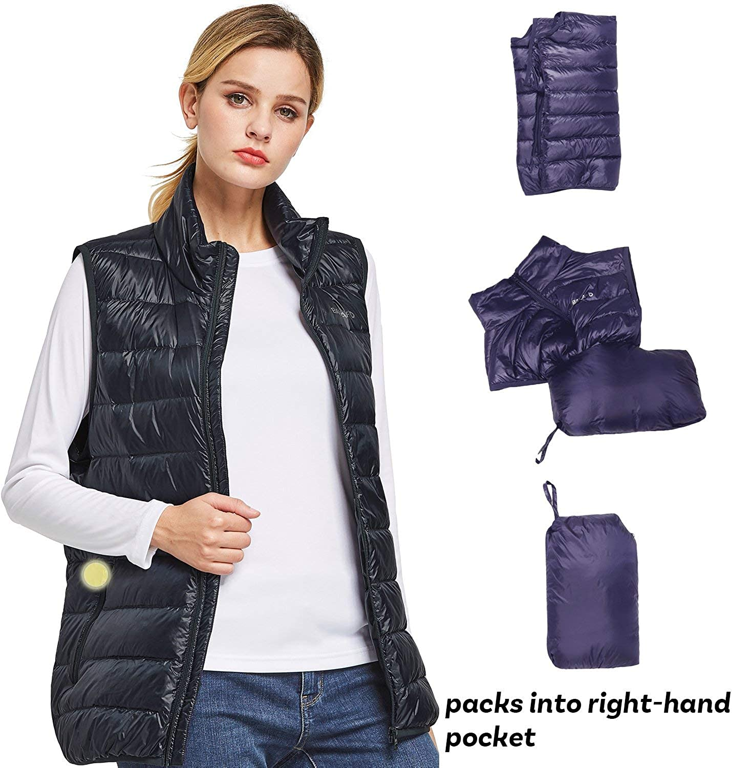 Backpacking Hiking Casual BALEAF Womens Packable Down Puffer Vest Lightweight Outdoor Gilet for All-Mountain Skiing