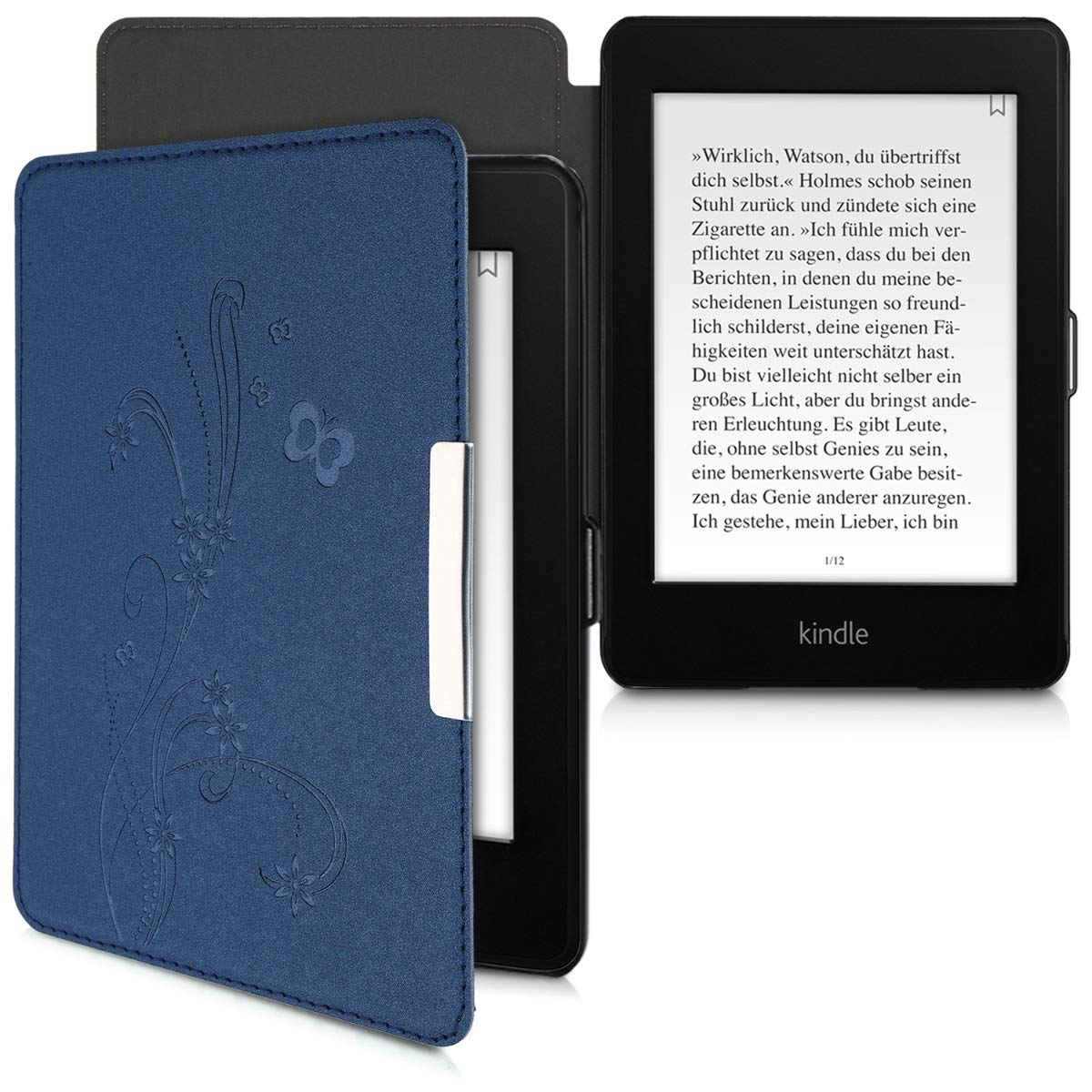 - Book Style Felt Fabric Protective e-Reader Cover Folio Case kwmobile Case for  Kindle Paperwhite 10. Gen - 2018 Black//Light Grey