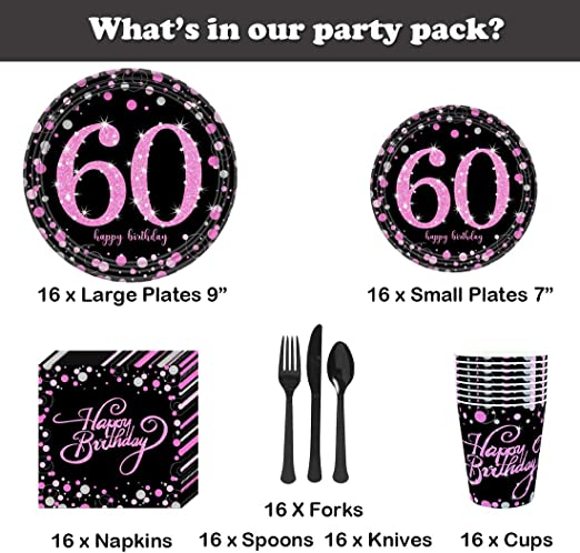 16 x Rose Gold 60 Napkins Ladies 60th Birthday Party Tableware Supplies Glitz