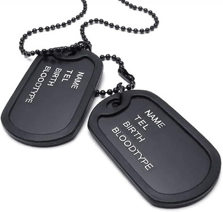 TOOGOO collar de joyeria de hombres, de estilo militar de 2 etiquetas placa de identificacion de perro colgante con cadena de 68cm, negro
