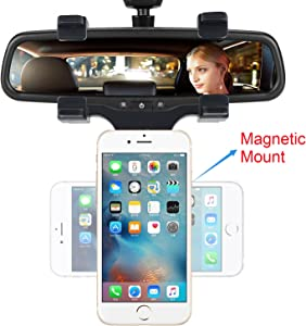 INCART Magnetic Car Mount, Car Rearview Mirror Mount Truck Auto Cell Phone Holder for iPhone X/8/8Plus/7/6s, Samsung Galaxy S8/S7/S6 Edge, Google Nexus, GPS/PDA / MP3 / MP4 Devices and More (Black)