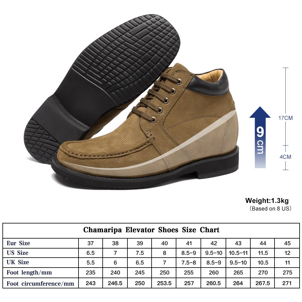 CHAMARIPA Height Increasing Insoles Shoes Mens Casual Boots Elevator Shoes 3.54'' Taller V1931 US 10 by CHAMARIPA (Image #1)