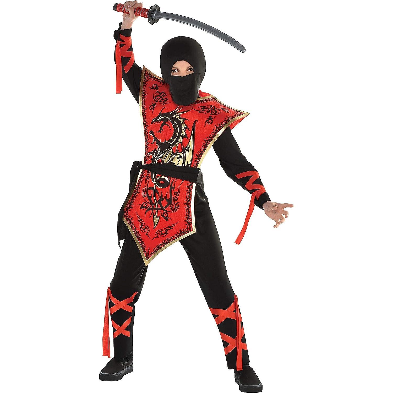 忍者アサシン レッドドラゴンコスチューム 男の子用 Medium (8-10)  B07H8XSMK2