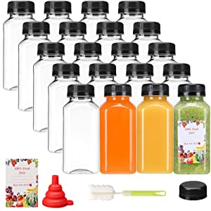 20pcs Empty PET Plastic Juice Bottles 8oz Reusable Clear Disposable Containers with Black Tamper Evident Caps Lids for Juice, Milk and Other Beverages