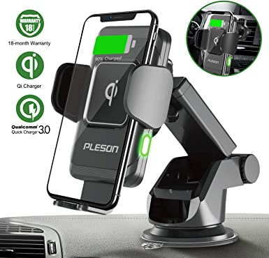 PLESON 10W 7.5W Wireless Car Charger Mount, Auto-Clamp Qi Fast Charging Windshield Dashboard Vent Car Phone Holder for Galaxy S10 Plus Note 10 5G S9 S8 , iPhone 11 11 Pro Max XR Xs Max 8 X – 2019