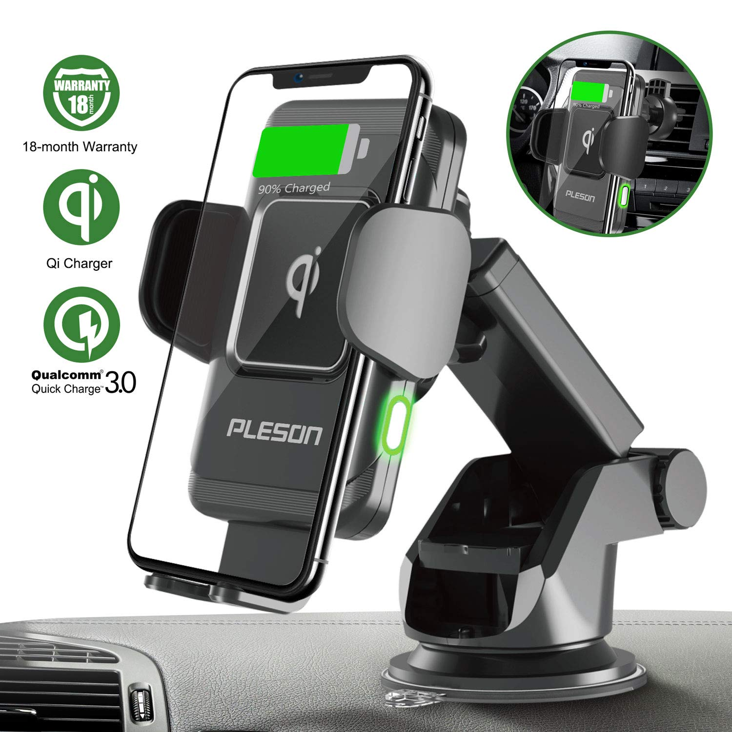 PLESON 10W/7.5W Wireless Car Charger Mount, Auto-Clamp Qi Fast Charging Windshield Dashboard & Vent Car Phone Holder for Galaxy S10 Plus/Note 10+ 5G/S9+/S8+, iPhone 11/11 Pro Max/XR/Xs Max/8+/X - 2019 by PLESON