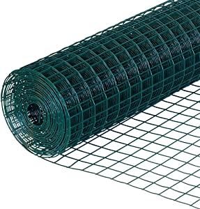 Yikai Garden Zone 24 Inches x 100 Feet 16-Gauge PVC Welded Green Vinyl Garden Fence with 3 x 2 Inch Openings