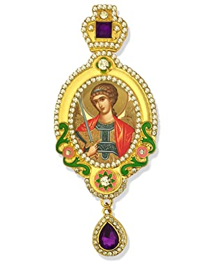 Archangel St Saint Michael Jeweled Russian Icon Pendant With Crown 5 1/16 Inch