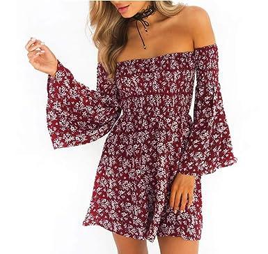 c5c71e262b4b Women Summer Dress Off Shoulder Fit Comfy Floral Casual Dresses(Red Small)