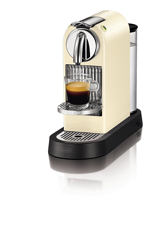 DeLonghi EN165CW - Cafetera monodosis, 19 bares, rejilla adaptable para vaso Macchiato, color crema